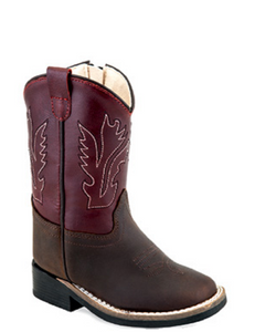 Old West Infant Leather Broad Square Toe Boot- Style #BSI1889