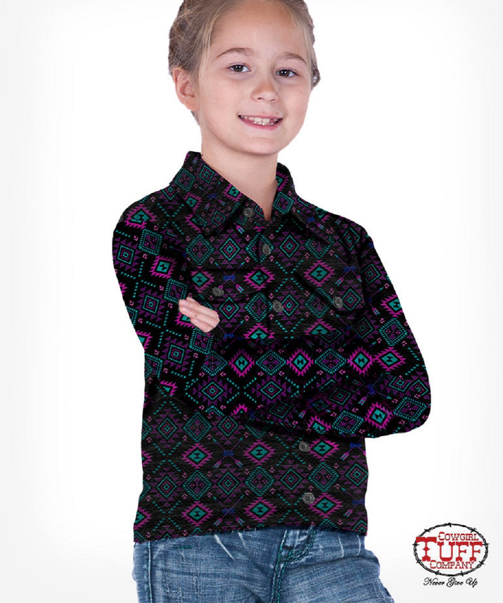 Cowgirl Tuff Girls' Black Aztec Jersey Pullover Button Up Shirt- Style #C02-F00452-SPC