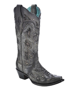 Corral Women's Black Embossed & Studded Snip Toe Boot- Style #C3043