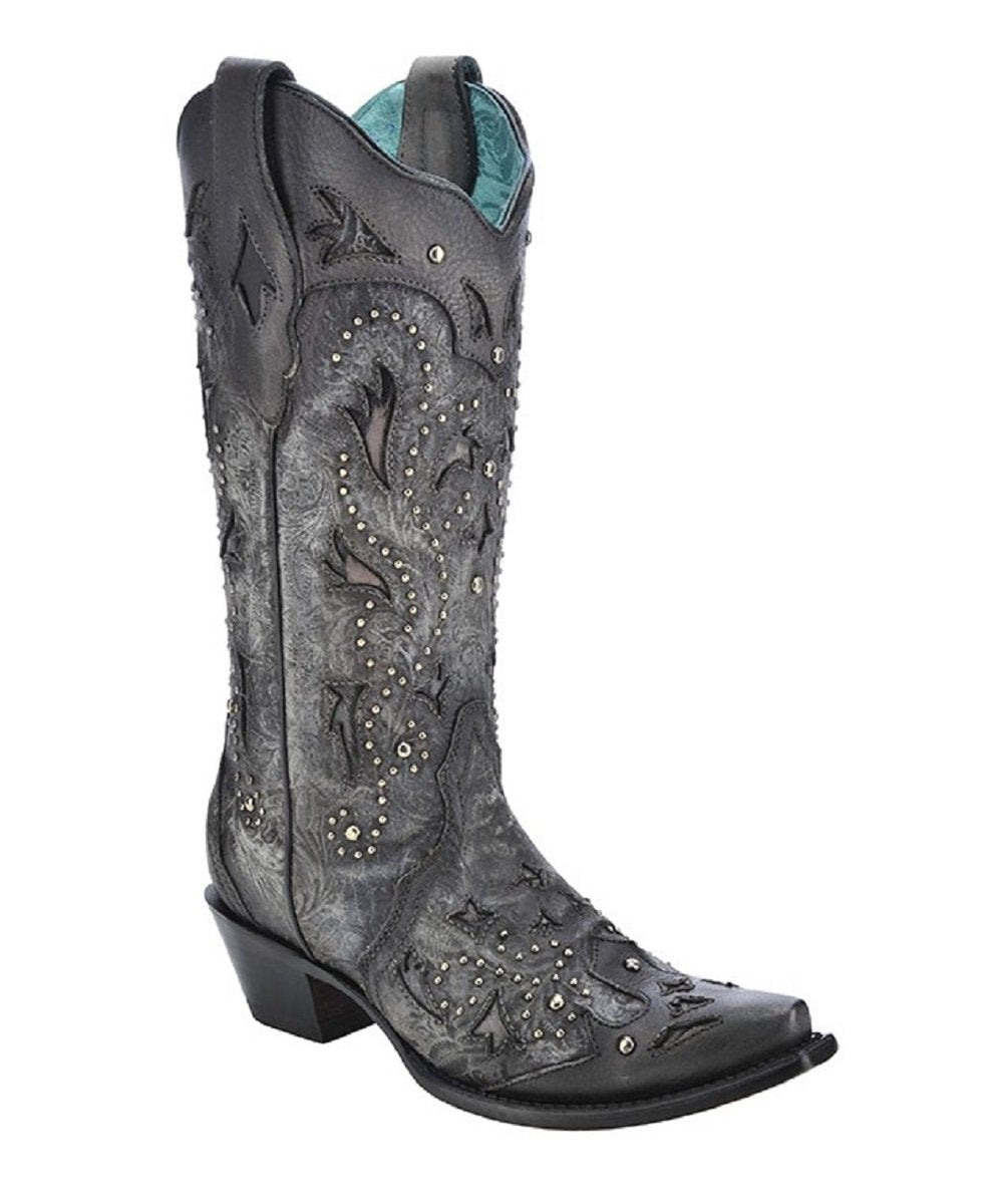 CORRAL WOMEN'S BLACK EMBOSSED & STUDDED SNIP TOE BOOTS - STYLE #C3043