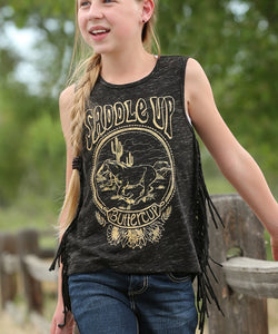 Cruel Girl Girls' Saddle Up Buttercup Fringe Tank Top- Style #CTK3970002
