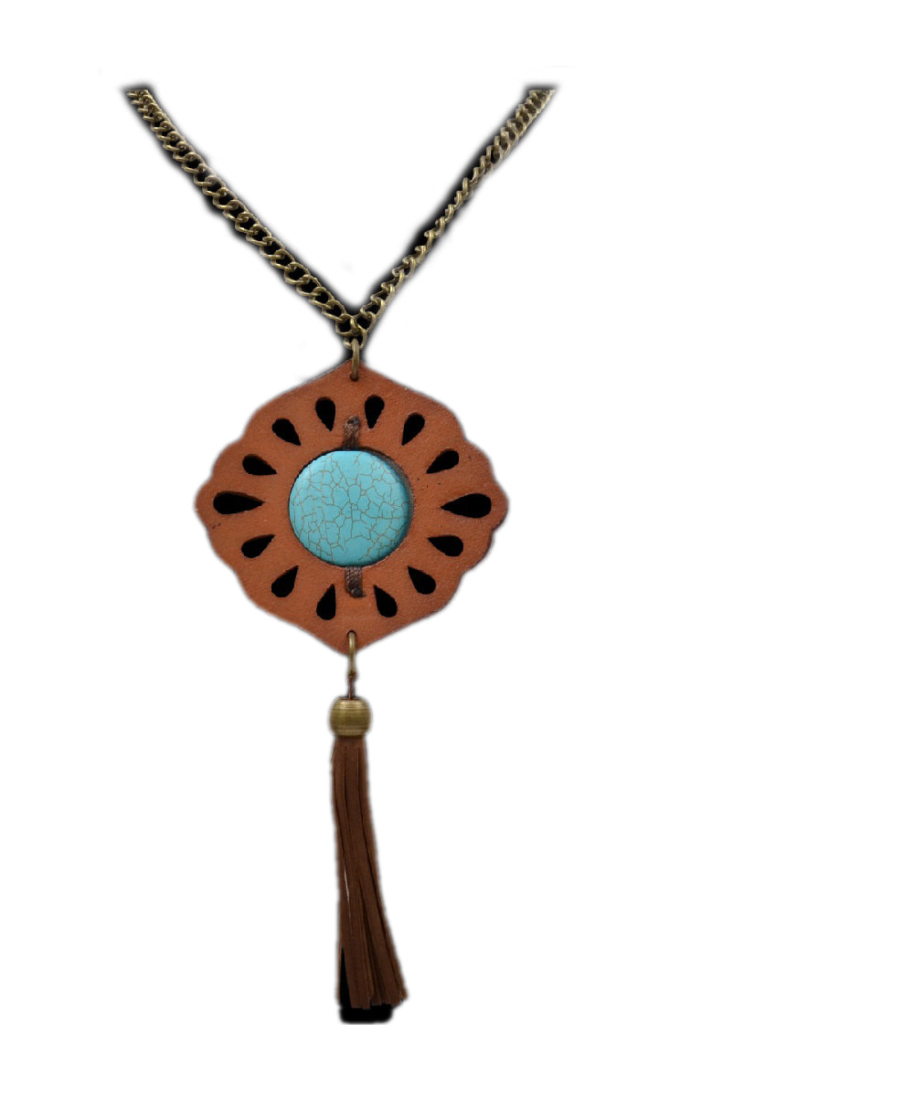 M&F Western Statement Necklace With Leather Pendant- Style #DN01