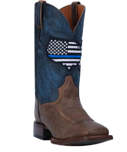 DAN POST MEN'S THIN BLUE LINE USA SQUARE TOE BOOTS - STYLE #DP4515