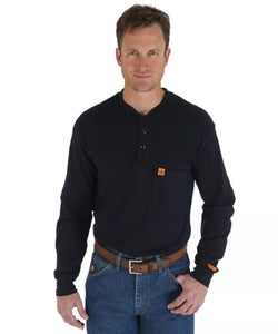 Wrangler Men's Riggs Workwear Black Flame Resistant Long Sleeve Henley- Style #FR3W8NV