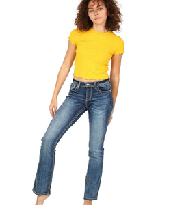 Grace In La Women's Light Wash Easy Bootcut Jean- Style #EB51532