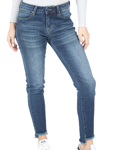Grace In La Women's Medium Wash Frayed Hem Mid Rise Skinny Jean- Style #EN-9245