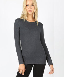 Zenana Women's Round Neck Long Sleeve Top- Style #GT-3320 CHARCOAL