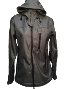 Cowgirl Tuff Women's Charcoal Microfiber Canvas Hooded Jacket- Style #H00556
