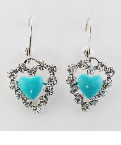 FINISHING TOUCH OF KENTUCKY WOMEN'S TURQUOISE HEART EARRINGS - STYLE #HER3381