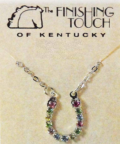 Finishing Touch Of Kentucky Women's Rhinestone Horseshoe Necklace- Style #HNE793