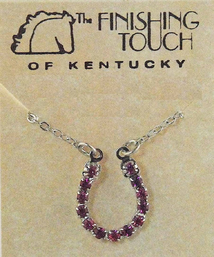 FINISHING TOUCH OF KENTUCKY WOMEN'S PINK RHINESTONE HORSESHOE NECKLACE- STYLE #HNE810
