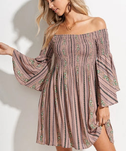 Cowpokes Bootique Women's La Miel Floral Print Off The Shoulder Midi Dress- Style #HUD7005
