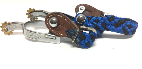 BEAGLEY BRAIDING CO. KIDS' SILVER SPUR WITH BRAIDED NYLON STRAP- STYLE #KDSSPUR$STRAP BLU/BLK - BLUE/BLK
