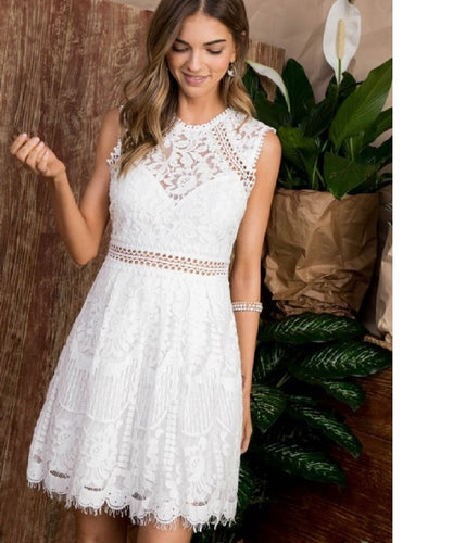 Cowpokes Bootique Women's Main Strip Lace Skater Dress- Style #LD50736