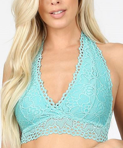 Zenana Women's Plus Lined Halter Stretch Lace Bralette- Style #LT-6309X ASH MINT