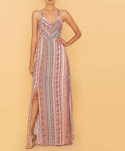 Miss Me Women's Woven Lace Tie Maxi Dress- Style #MD0290T