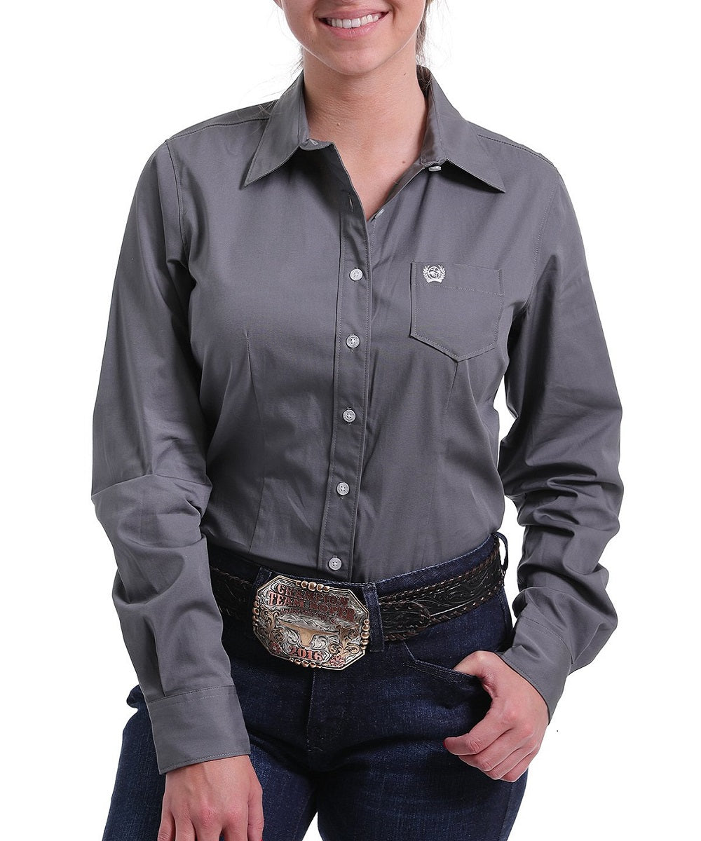 Cinch Women's Charcoal Gray Button Down Shirt- Style #MSW9164029