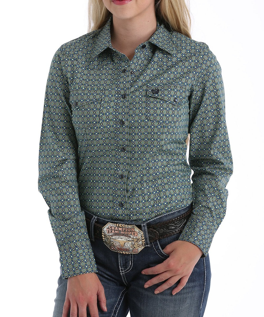 Cinch Women's Navy Medallion Print Western Snap Shirt- Style #MSW9201003