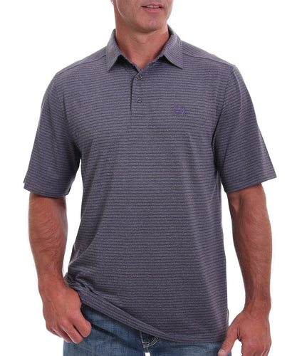 Cinch Men's ArenaFlex Heather Gray And Purple Stripe Polo- Style #MTK1865004