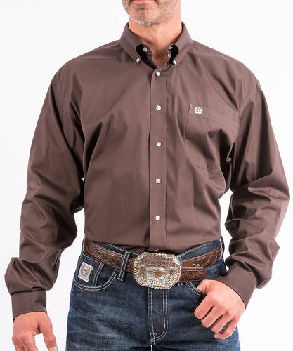 Cinch Men's Solid Brown Button Down Western Shirt- Style #MTW1104236