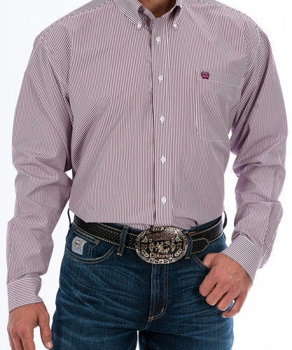 CINCH MEN'S BURGUNDY STRIPE BUTTON DOWN SHIRT- STYLE #MTW1104730