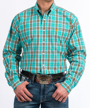 Cinch Men's Turquoise And Orange Plaid Button Down Shirt- Style #MTW1104806-TURQUOISE