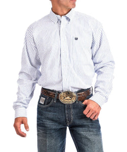 Cinch Men's Blue And White Striped Oxford Western Button Down Shirt- Style #MTW1108002