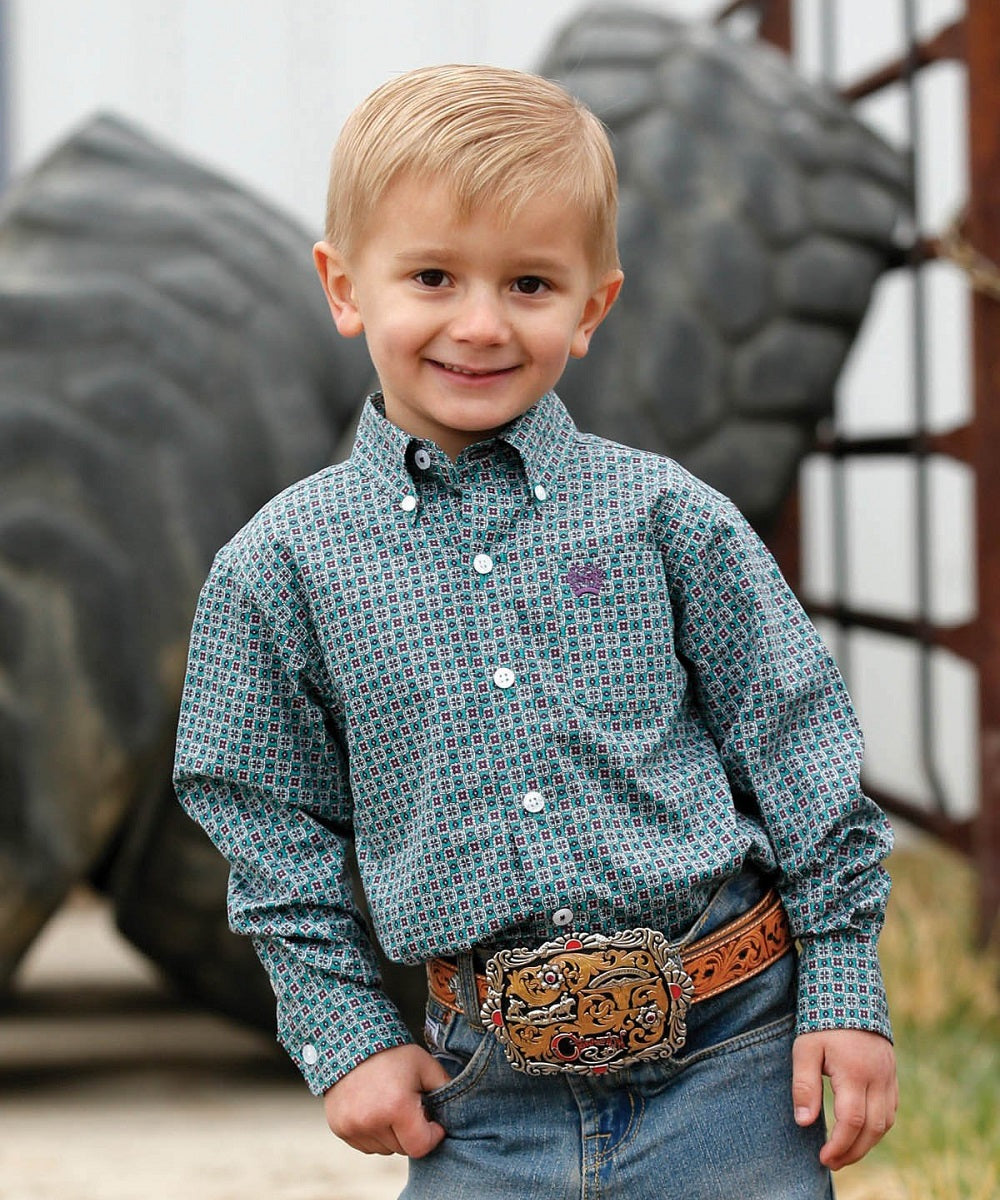 Cinch Boys' Toddler Geo Print Button Down Shirt- Style #MTW7061227