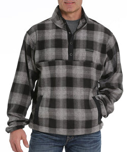 Cinch Men's Charcoal Plaid Fleece Pullover- Style #MWK1514003