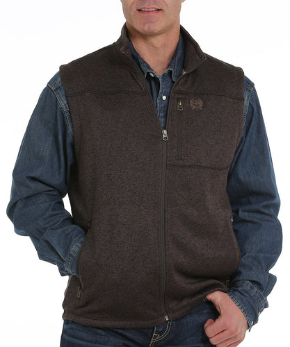 Cinch Men's Brown Sweater Knit Fleece Vest- Style #MWV1225003