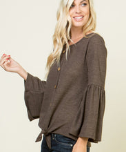 Cowpokes Bootique Women's Be Stage Brown Knit Bell Sleeve Top- Style #PT10157