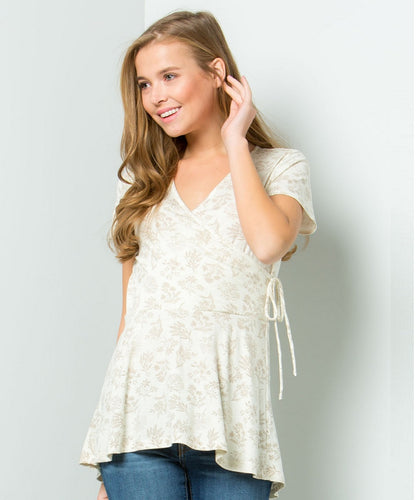 Cowpokes Bootique Women's Be Stage Khaki Floral Top- Style #PT9793