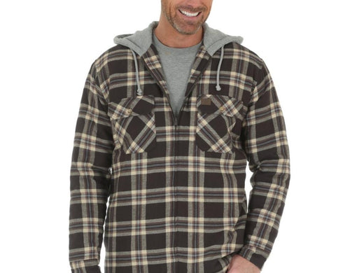 WRANGLER MEN'S RIGGS WORKWEAR HOODED FLANNEL JACKET- STYLE #3W802BE