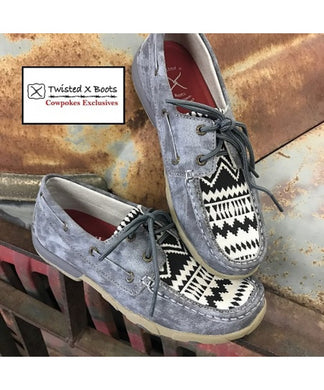 TXWISTED X WOMEN'S COWPOKES EXCLUSIVE NAVAJO CANVAS MOC- STYLE #SMUWDM19