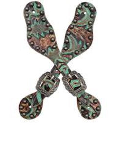 3-D BELT CO. BROWN AND TURQUOISE MEDIUM SPUR STRAPS- STYLE #SS3710