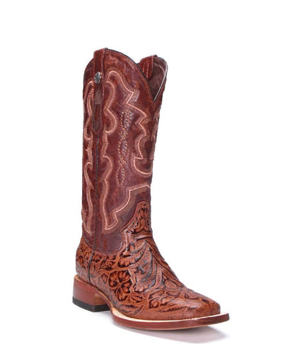 Tanner Mark Women's Cognac Floral Embossed Leather Boot- Style #TML201760