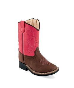Old West Toddler Pink And Brown Broad Square Toe Boot- Style #VB1061