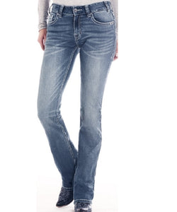 Rock & Roll Cowgirl Women's Mid Rise Boot Cut Extra Stretch Jean- Style #W1-2511