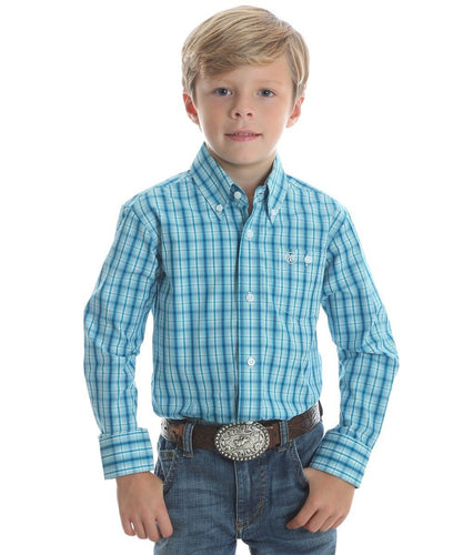 WRANGLER BOYS' CLASSIC BLUE PLAID BUTTON DOWN SHIRT- STYLE #BGB519M-BLUE PLAID