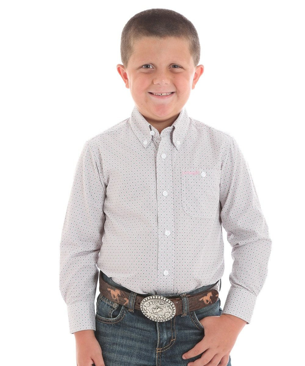 WRANGLER BOYS' TOUGH ENOUGH TO WEAR PINK BUTTON DOWN SHIRT- STYLE #BTP258M