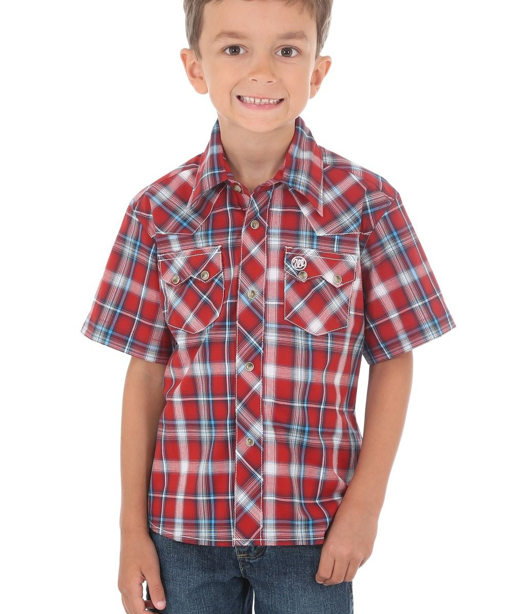 WRANGLER BOYS' RETRO PLAID SNAP SHIRT- STYLE #BVR202A