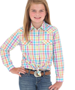 WRANGLER GIRLS' WESTERN PLAID SNAP SHIRT- STYLE #GW2948M