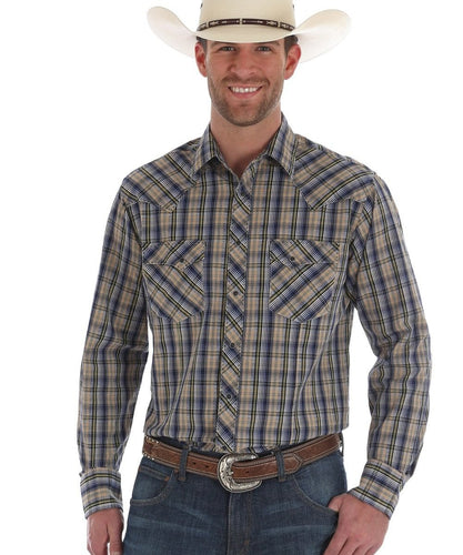 WRANGLER MEN'S FASHION SNAP PLAID SHIRT- STYLE #MVG201M
