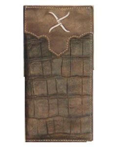 TWISTED X RODEO WALLET CROCODILE PRINT - STYLE #XRC-9 - BROWN CAIMAN