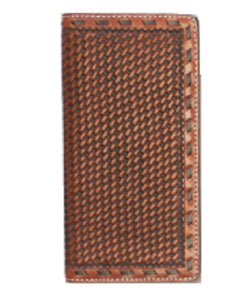 TWISTED X WALLET BASKET WEAVE RODEO WALLET - STYLE #XWC3-3 - BROWN BASKET WEAVE