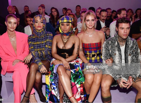 Rosie Huntington-Whiteley, Nicki Minaj and Chiara Ferragni in Donatella Versace SS19 show in Milan