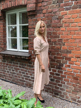 Toscana midi dress on blonde model Alisa