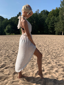 Drift - White - backless high/low dress