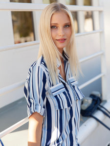 Blonde model in Visby Maxi Shirt Dress
