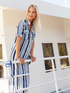 Maxi shirt dress with naval stripes